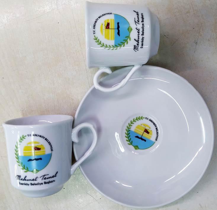 Düz Beyaz Kahve Fincanı Belediyeler için hediyelik fincan takımları