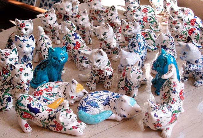 Çini ve Seramik Hayvan Bibloları Çini Kedi ve Köpek  Baykuş Fil  Ördek Güvercinler Uğur Böceği Hediyelik Dekoratif Eşyalar