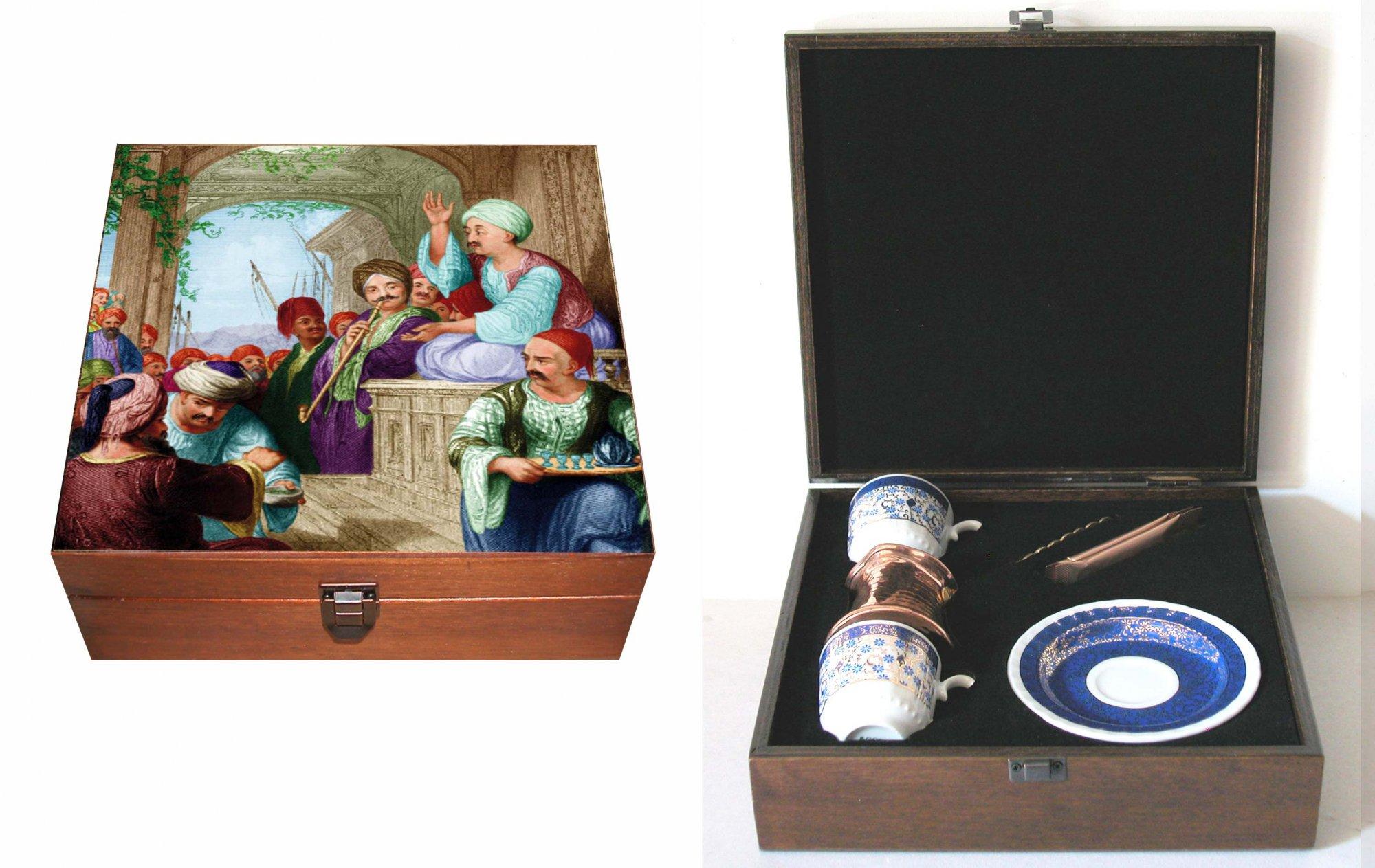 Osmanlı Sosyal Hayatından Kesitli Özel Kutusunda Türk Kahvesi Setleri şirket çalışanlarına hediyeler çok özel kaliteli hediyelikler