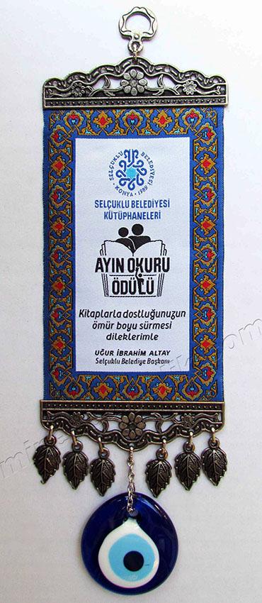 Logo Dokumalı Minyatür Halılar Nazar Boncuklu halı mini dokum halılar