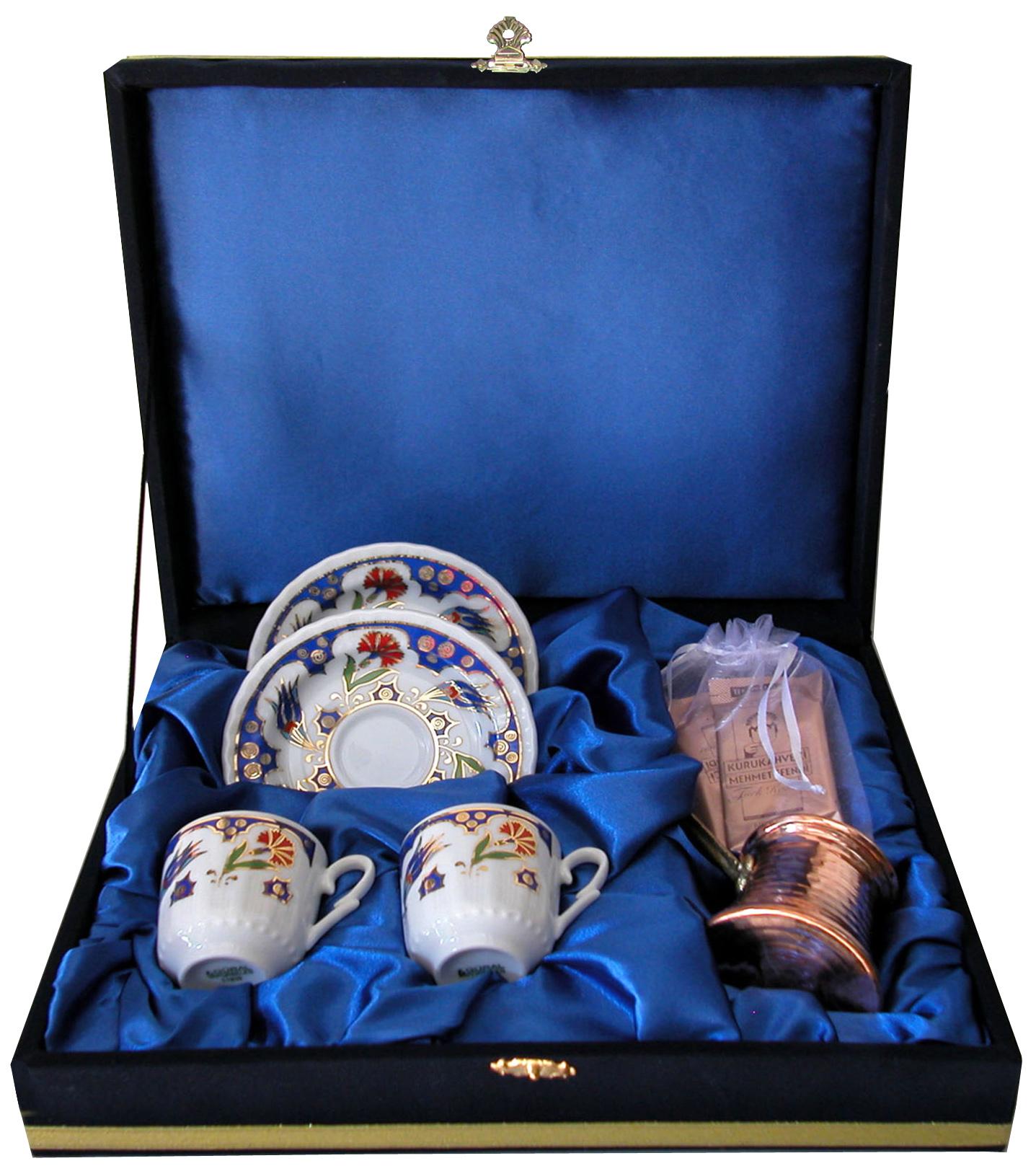 Hediyelik Kadife Kutuda Bakır Cezveli İkili Kahve Setleri