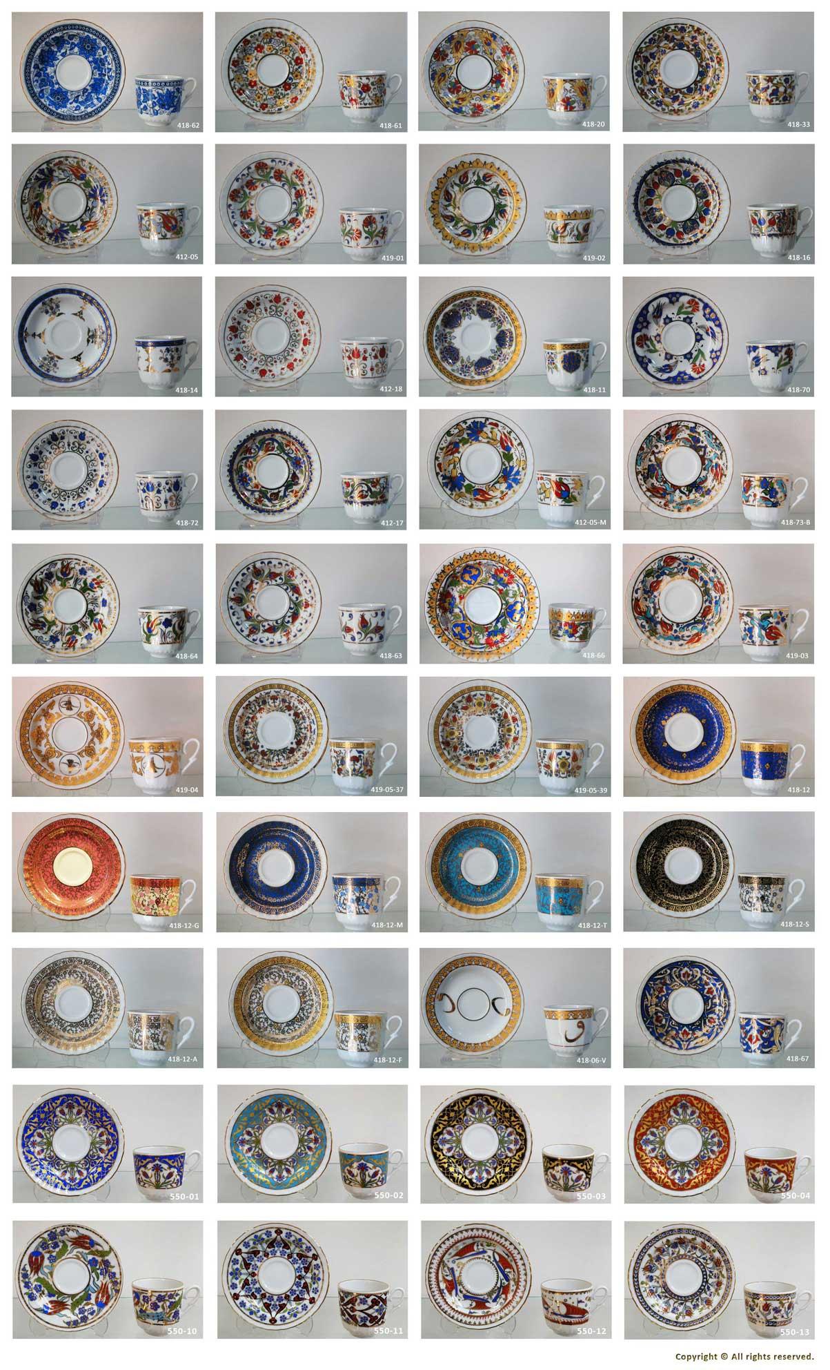Fincan Motifleri Türk kahvesi Fincanları çeşitleri desenleri formları