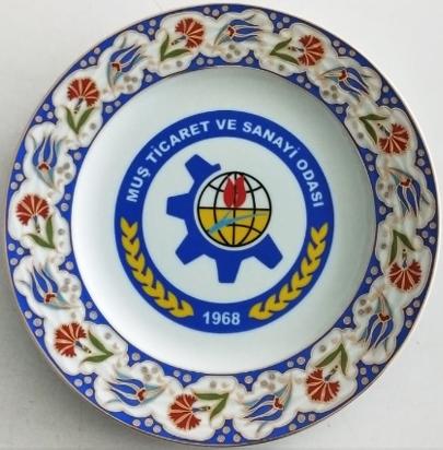 25 cm Porselen Plaket Tabaklar Muş Ticaret ve Sanayi Odası Hatırası