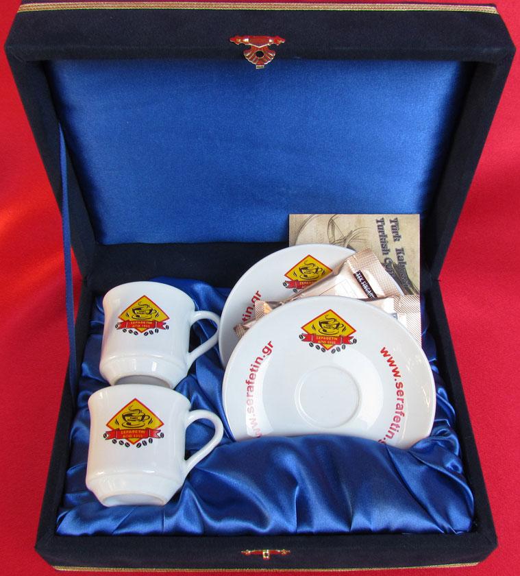Kutulu Baskılı  İki Kişilik Firma Logolu Fincan Takımı İmalatı Promosyon Kahve Takımı Fiyatları
