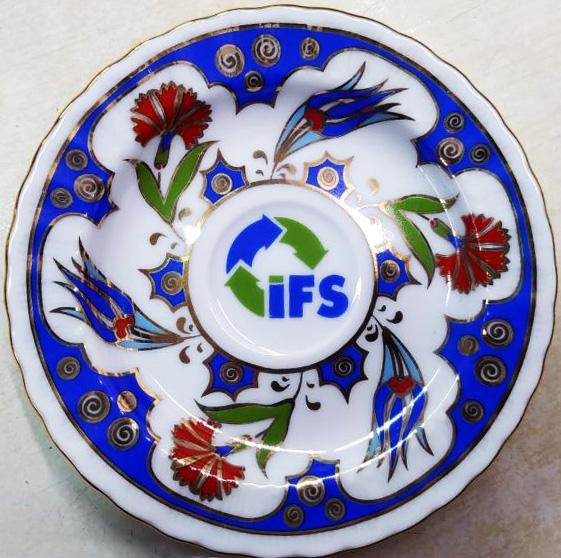 Desenli logo baskılı türk kahvesi fincan takımları kalıcı baskı kaliteli baskı çıkmayan baskılı