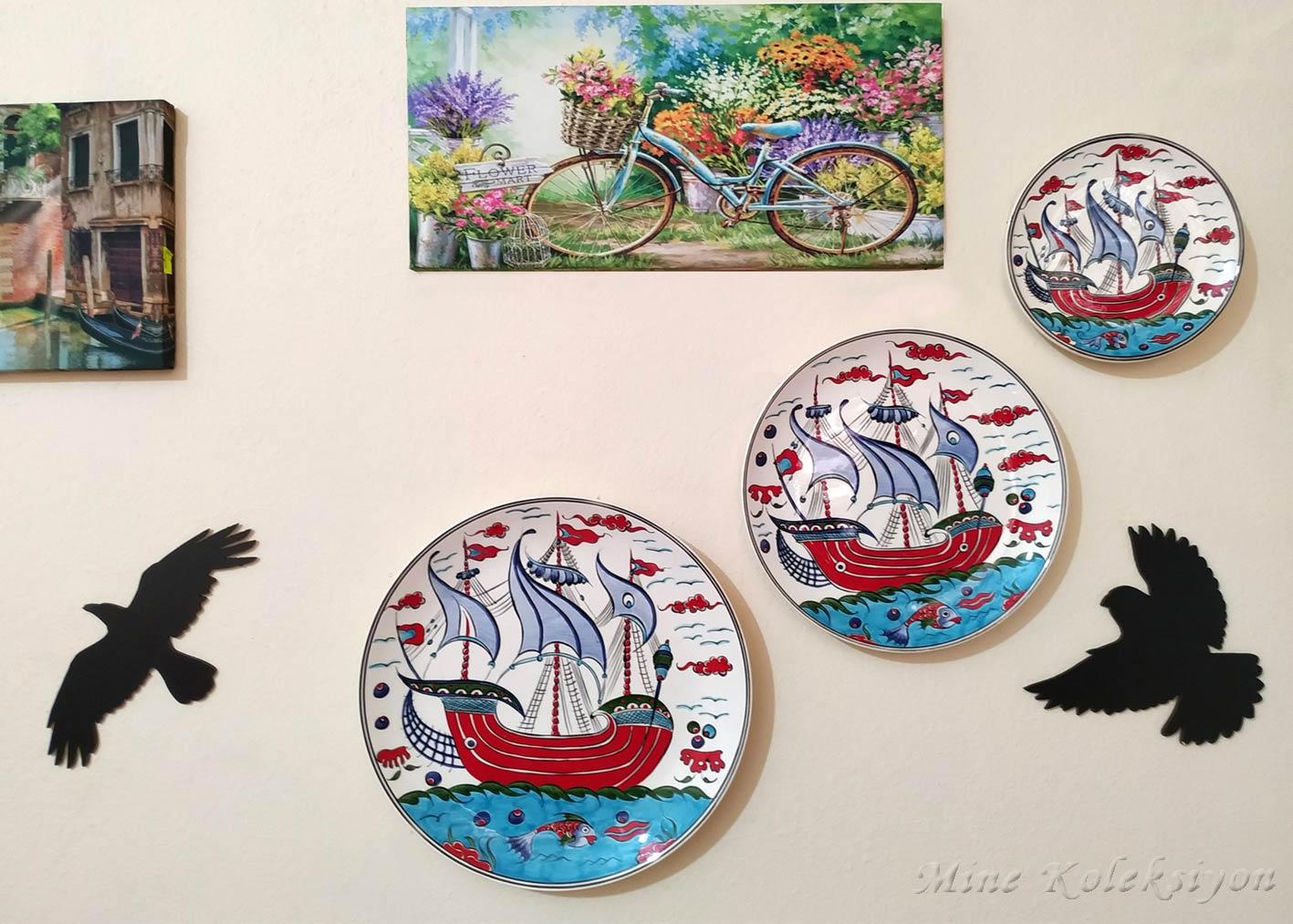 Osmanlı Kadırga Yelkenli Kalyonlu Gemili 3 Lü Kombin Set El Yapımı Duvar Dekoru Süsü Klasik İznik Tarzı Çini Tabaklar