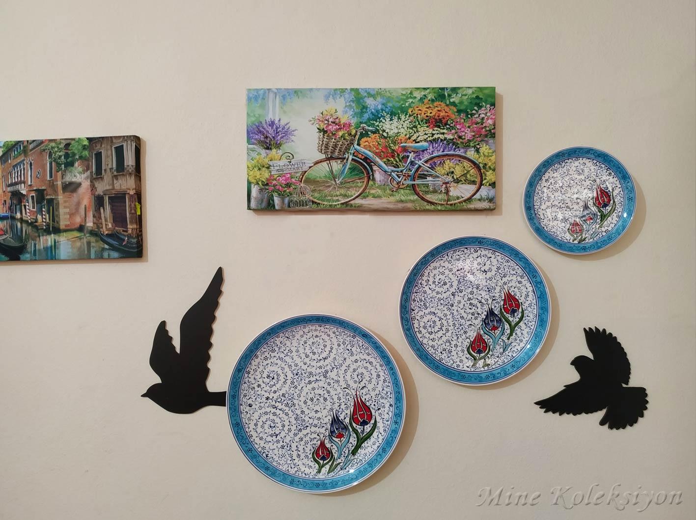 Osmanlı Klasik Haliç ve laleli 3 Lü Kombin Set El Yapımı Duvar Dekoru Süsü Klasik İznik Tarzı Çini Tabaklar  Ottoman Turkish Handmade  Ceramic Plates