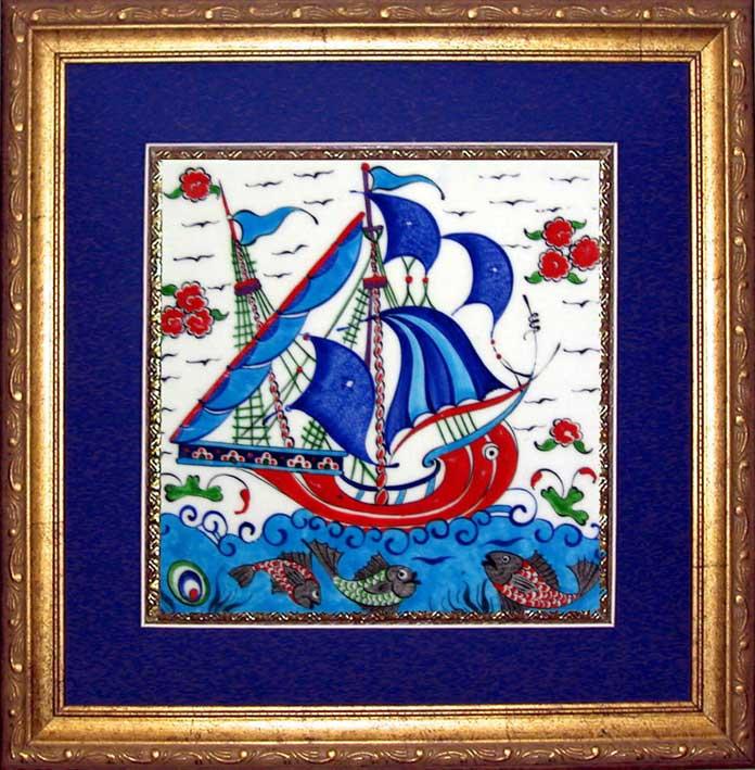 Çerçeveli 20cm x 20cm Gemili Seramik Panolar