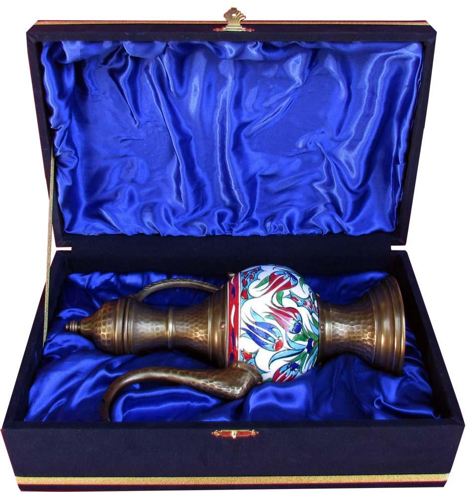 Geleneksel Osmanlı Bakır ve Çini sanatı hediyeleri, İstanbul'da Çini Mağazası kaliteli Promosyonluk Kutulu Dekoratif el yapımı bakır ve seramik vazo modelleri ve fiyatları