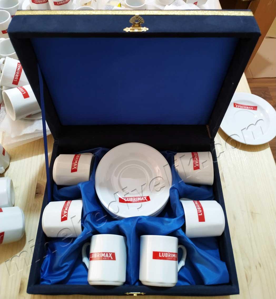 6 lı Osmanlı Baskılı Türk Kahvesi Fincan Takımları altı kişilik promosyon baskılı türk kahvesi fincan seti