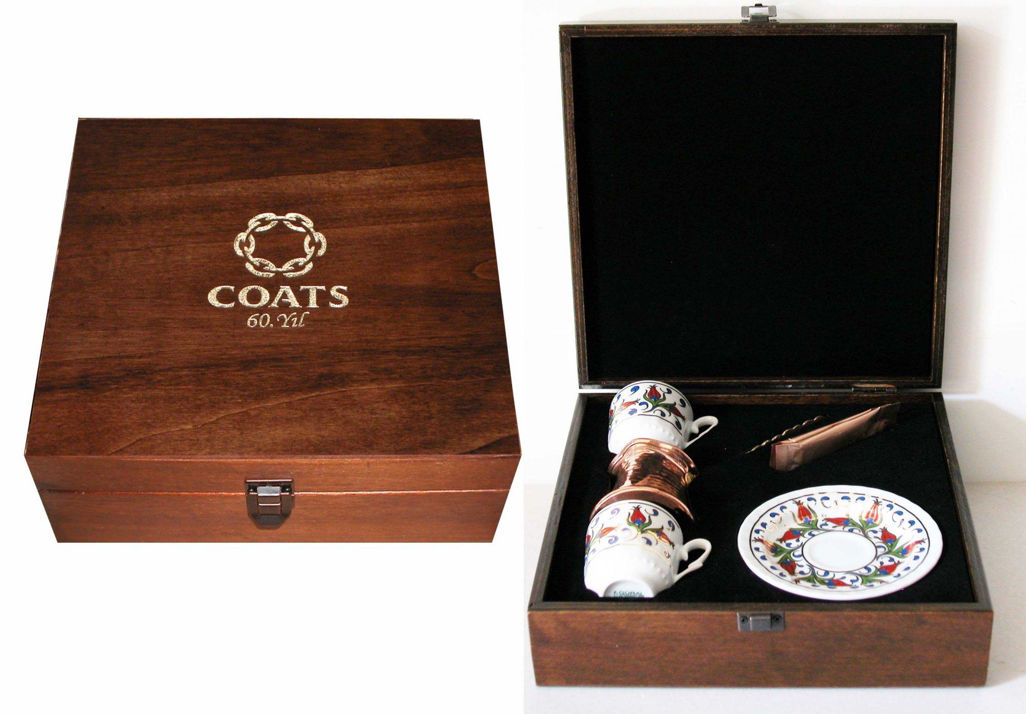 Kutu üzeri lazer baskılı kurumsal  hediyelik iki kişilik kahve fincan seti çok kaliteli vip hediyeler kaliteli Fincan Takımları