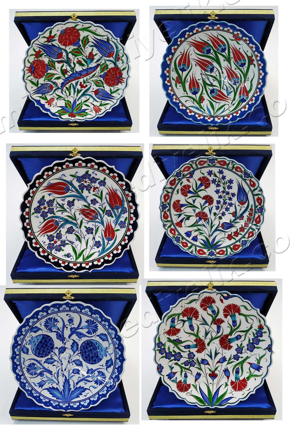 Kurumsal Hediyelik Klasik Osmanlı Çini Tabaklar   Duvar ve Vitrin Süslemesi İçin Dekoratif Hediyeler çini tabak hediyelik eşya duvar çinisi