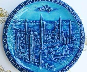 20 cm  Turkuvaz Firuze Çini Tabaklar Turkuaz