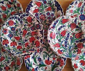 25cm Çini Tabak Modelleri Motifleri Traditional  Turkish Ceramic Plates Handmade Ottoman İznik Kutahya
