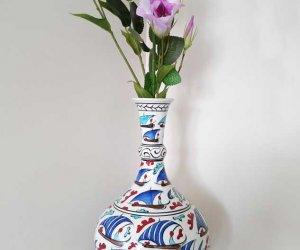 30cm Klasik Gözyaşı  Çini Vazolar  Kurumsal Hediye Kutulu Seramik Vazo Desenleri Modelleri Fiyatları