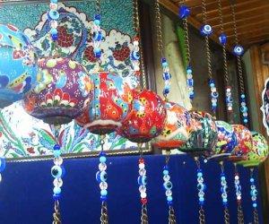 Çini Seramik Toplar ve Yumurtalar Otantik Duvar Tavan Dekoratif Süslemeleri İpli Zincirli Nazar Boncuklu